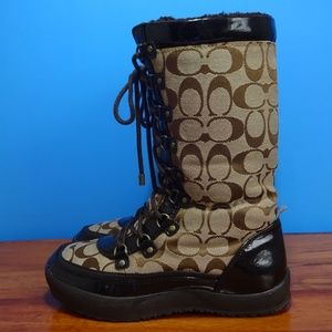 COACH 'PEGGY' KNEE HIGH, LACE FRONT LOGO BOOTS!
